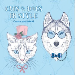 COLOURING BOOK CATS AND DOGS IN STYLE